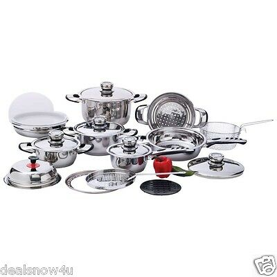 Chef Secret 22 Piece 12 Element High Quality Heavy Duty Stainless Steel Cookware