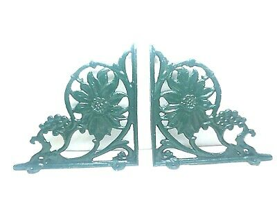 "2 Antique Style Cast Iron Brackets Garden Braces Rustic 10"" Shelf Bracket Green"