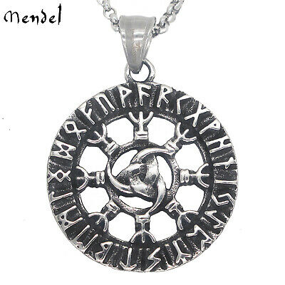 MENDEL Nordic Jewelry Viking Rune Necklace Pendant Stainless Steel Odin Amulet