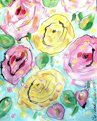 Floral 12x9 original painting art By PB Impressionist pink & yellow roses NR