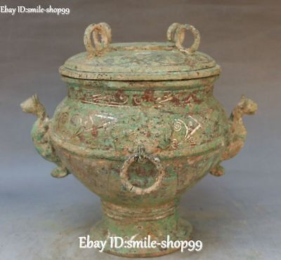 Antique China Bronze Silver Ancient Dragon Beast Food Container Pot Jar Crock
