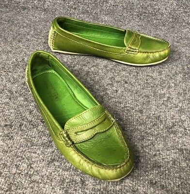 d03eae96643 Pikolinos Women s Green Leather Penny Driving Loafers Sz 38 US 7.6-8