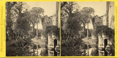 Raglan Castle Banquet Hall  Wales Stereoview Visit By Abbie S Weld May 24 1872
