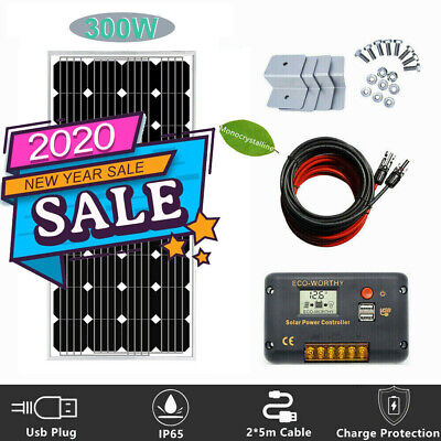 250W 160W 12V Portable Solar Panel KIT SYSTEM FIXED FLEXIBLE For Camping RV Home