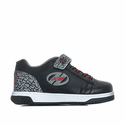 Children Boys Heelys Dual X2 Up Skate Shoes in Black Grey