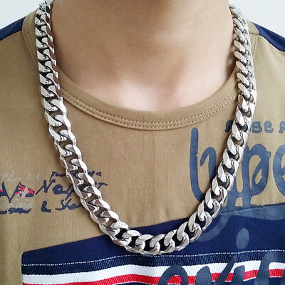 "8-40"" 316L Stainless Steel Hot Men's Heavy Link Silver Curb Cuban Chain Necklace"