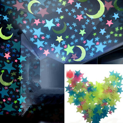 100 Pcs Star Moon Fluorescent Glow Wall Stickers Baby Rooms Home Decoration DEN