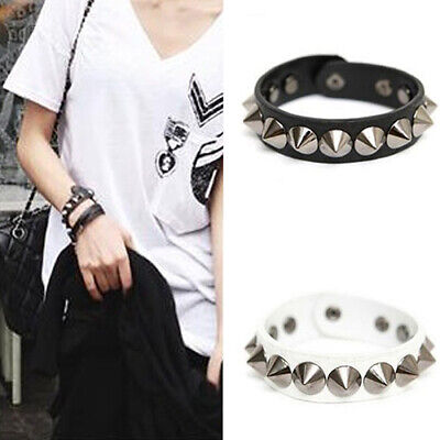 Punk Gothic Faux Leather Rivet Stud Spike Bracelet Cuff Bangle Wristband DEN