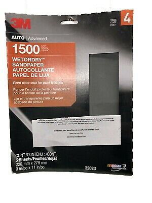 Abrasive Sheets 9 x 11 Pkg of 5 3M Imperial Wet or Dry 220 Grit SandPaper