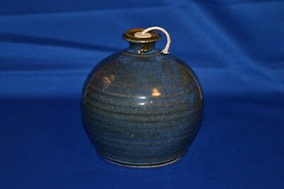 "Hand-Thrown Studio Art Pottery Oil Burner Lamp 3.75"" Signed Cobalt Blue Candle"