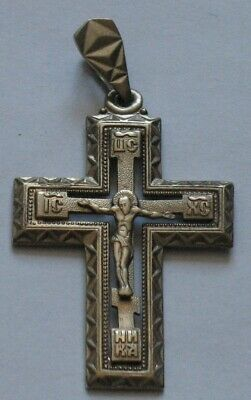 RUSSIAN GREEK ORTHODOX CROSS Pendant STERLING SILVER CRUCIFIX 925 Jesus Big Old