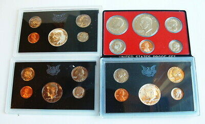 1968, 1969, 1971 And 1973 Us Mint Proof Coin Sets