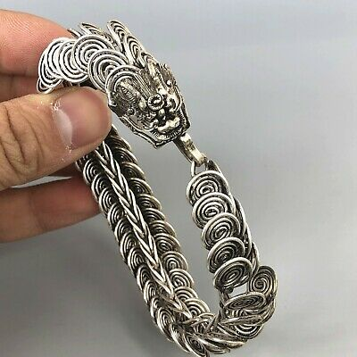 Rare Collectible Chinese Old Tibet Silver Handwork Antique Cloud Dragon Bracelet