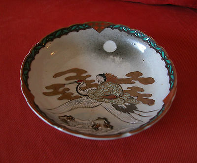 A Gorgeous Antique Hand Painted&Decorated With Lovely Colors Signed Kutani Plate