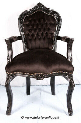 Barok Arm Chair French Style Chair Vintage Furniture Black