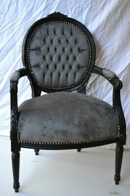 LOUIS XVI ARM CHAIR FRENCH STYLE CHAIR VINTAGE FURNITURE grey and black wood