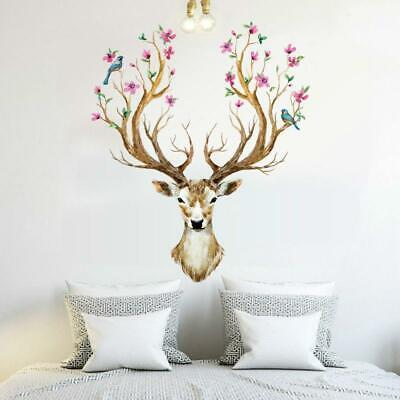 Home Stag Wall Stickers Mural Decal Antlers Bloom Tree Bird Home Decoration DS