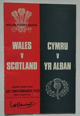 Wales Scotland Rugby Union Programme 1978
