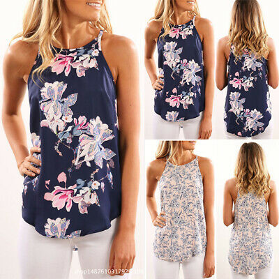 Womens Summer Sleeveless Floral Tops Camisole Ladies Vest Cami Blouse Size 6-22
