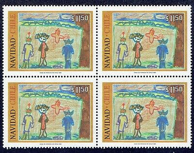 Chile 1981 Stamp # 1018 Mnh Block Of Four Christmas 81'