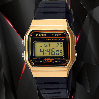 Casio F91WM-9A Classic Black Gold Sports Watch Retro Style F-91 New
