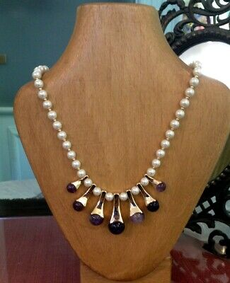 Collier In Oro 14 Kt Tit 585 Demirouge, Perle E Ametista. Vintage Anni '70