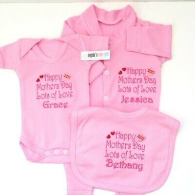 Happy 1st Mother's Day 2019 Personalised Baby Set Grow Vest Bib Blue Pink White