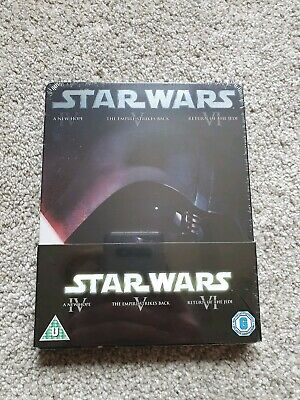 Star Wars, Original Trilogy Blu Ray Steelbook, New and Sealed, see description