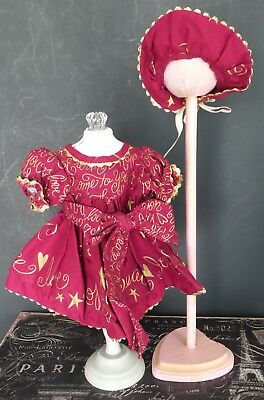 CRANBERRY & GOLD  HOLIDAY CHRISTMAS DOLL Dress for ARTIST or for ANTIQUE DOLLS