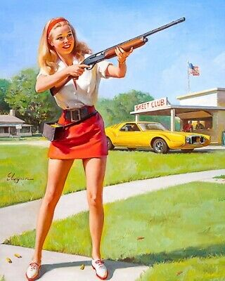 GIL ELVGREN 8x10 PIN-UP GIRL ART MINT PRINT-1950s Skeet Club Blonde Skirt Legs