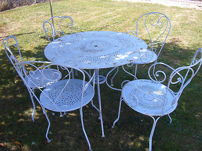 Salon De Jardin En Fer Coloré | Salon Jardin Metal Couleur Table De ...