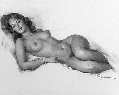 ELVGREN 8x10 PINUP GIRL MATTE PRINT-Girlfriend Nude Sketch Large Breasts Hips F1