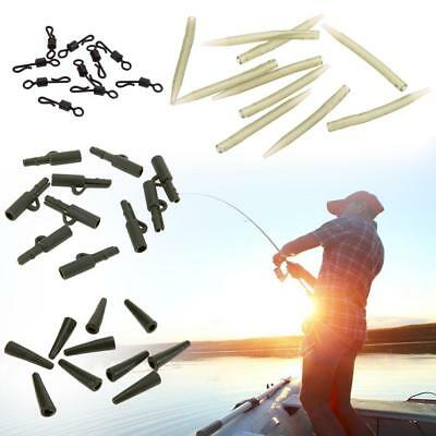 40X Carp Fishing End Tackle lead Clips swivels Anti Tangle Sleeves High Quality