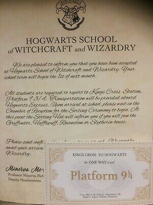 Harry Potter Acceptance Letter & Matching Kings Cross To Hogwarts Train Ticket