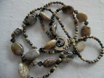Saki Necklace Agate Stone Vintage Sterling Silver  BROWN AND GRAY TONES