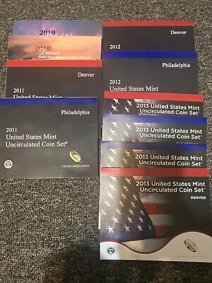 2010, 2011, 2012, & 2013 Uncirculated United States Mint Sets Lot Of 5 Ship Free