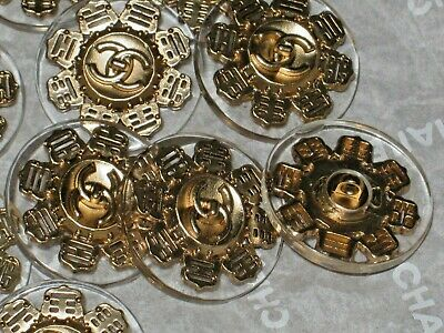 Chanel  6  Gold Metal Cc Logo Front Clear  Buttons  22 Mm/ Around 1'' New Lot 6