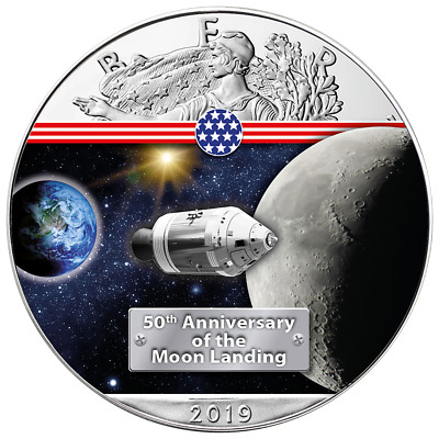 50 Ans Atterrissage de Lune On The Way To The Moon Argent Eagle 2019 1 Once 999