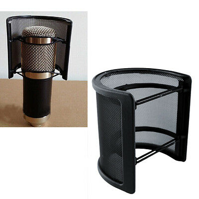Dual Layer Recording Studio Microphone Mic Windscreen Pop Filter Mask Shield Blk