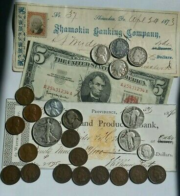 Big Lot 29 OLD US Coins Papermoney Collection MIX Incl 6 SILVER PCS 2 CHECKS XF