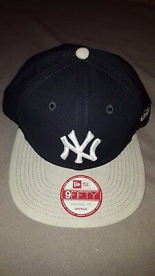 brand new 6a56c daf14 New Era 9 Fifty Mlb New York Yankees Team Suede Snapback Hat Navy Grey New