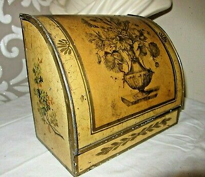 Early Vintage French Tin Painted & Découpage Stationary Box