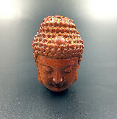 Ornament Buddha Head Sandalwood Sculpture By Hand Carving Figurine Wooden Crafts