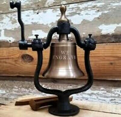 Medium Brass Railroad Bell~Polished or Antiqued~10 POUNDS!~ENGRAVE UP TO 3 LINES