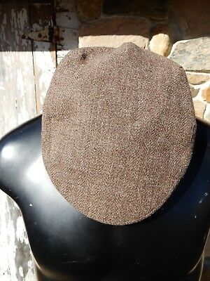b505276ccea Great Vtg Mens Christys London Herdwick Brown Tweed Wool Driving Cap sz 7
