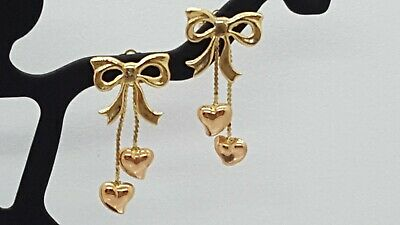 Vintage 14K Yellow Gold Pierced/Post Bows w/Rose Gold Dangle Hearts Earrings
