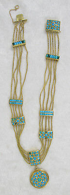 Antique Victorian 18K Yellow Gold Persian Turquoise Necklace 14-1/2in 54.5 grams