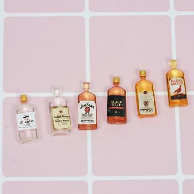 6pcs Dollhouse Miniature Wine Whisky Bottles Shop Pub Bar Drinks Decor Gift