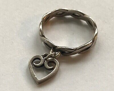James Avery Sterling Silver Twisted Wire W Loop Heart Charm Dangle Ring Size 6 For Sale Picclick
