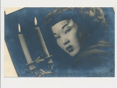 1920-1930's Beautiful Chinese Woman Two Candles Lit Odd Composition Silvering